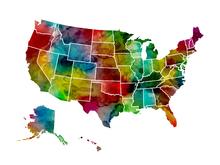 Fototapet - USA Watercolor Map