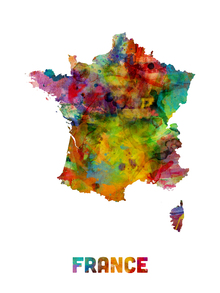 Leinwandbild - France Watercolor Map