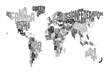 Fototapeta - Typographic Text World Map Black & Grey