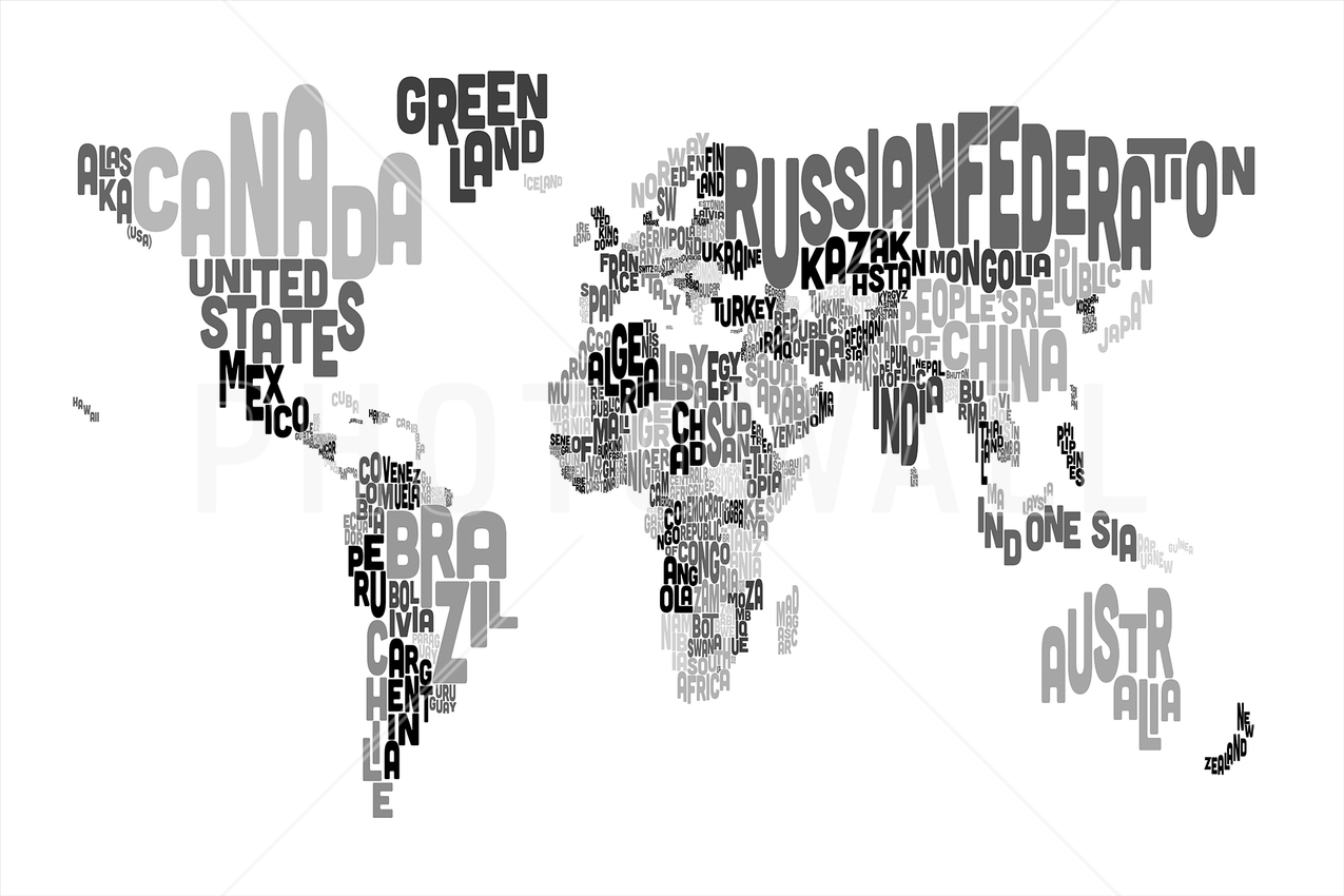 World map wallpaper atlas wall murals photowall wall mural typographic text world map black grey gumiabroncs Choice Image