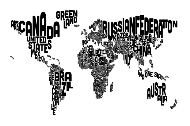 Typographic text world map black wall mural photo for Black and white world map mural