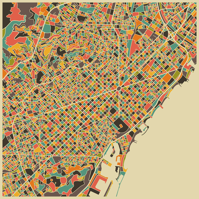 Multicolor Map - Barcelona