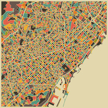 Fototapet - Multicolor Map - Barcelona