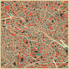 Fototapet - Multicolor Map - Berlin