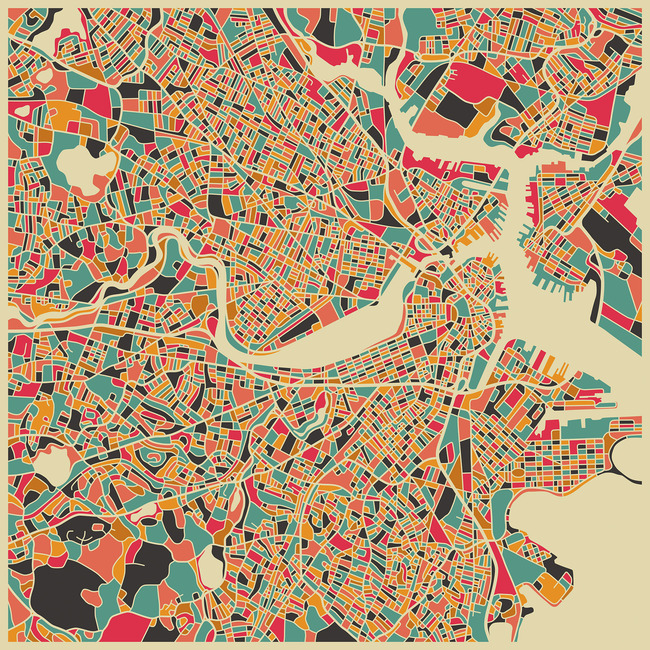 Multicolor Map - Boston
