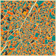 Fototapet - Multicolor Map - Brussels