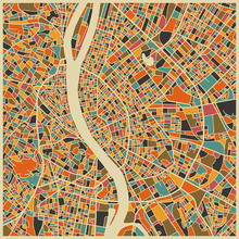 Canvas print - Multicolor Map - Budapest