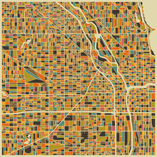 Fototapet - Multicolor Map - Chicago