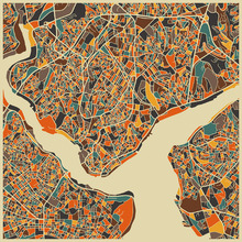 Canvas print - Multicolor Map - Istanbul