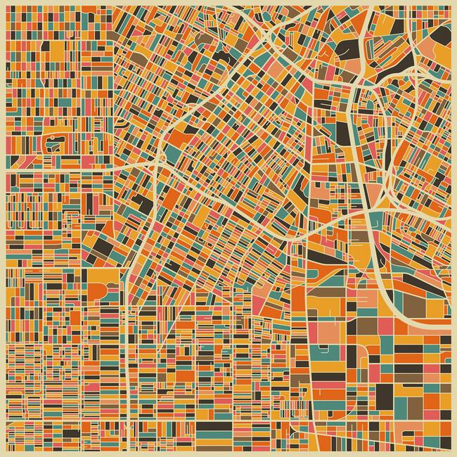 Multicolor Map Los Angeles Wall Mural Photo Wallpaper - Los angeles map wallpaper
