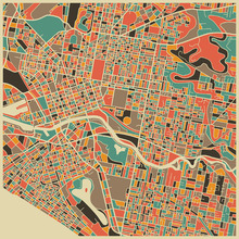 Canvastavla - Multicolor Map - Melbourne