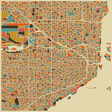 Fototapet - Multicolor Map - Miami