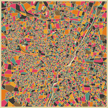 Fototapet - Multicolor Map - Munich