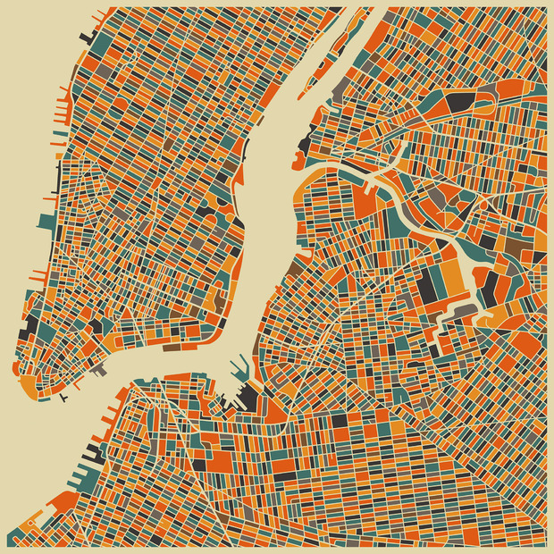 Multicolor map new york decoration murale papier for Decoration murale new york