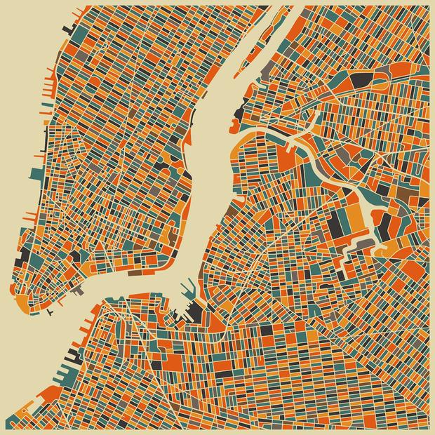 Multicolor map new york decoration murale papier for Decoration murale new york