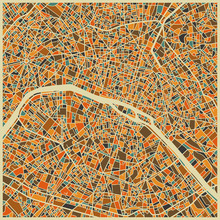 Fototapet - Multicolor Map - Paris