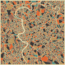 Canvas print - Multicolor Map - Rome
