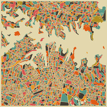 Wall Mural - Multicolor Map - Sydney
