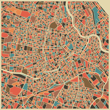 Wall Mural - Multicolor Map - Vienna