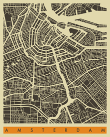 Canvas print - City Map - Amsterdam