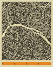 Canvastavla - City Map - Paris