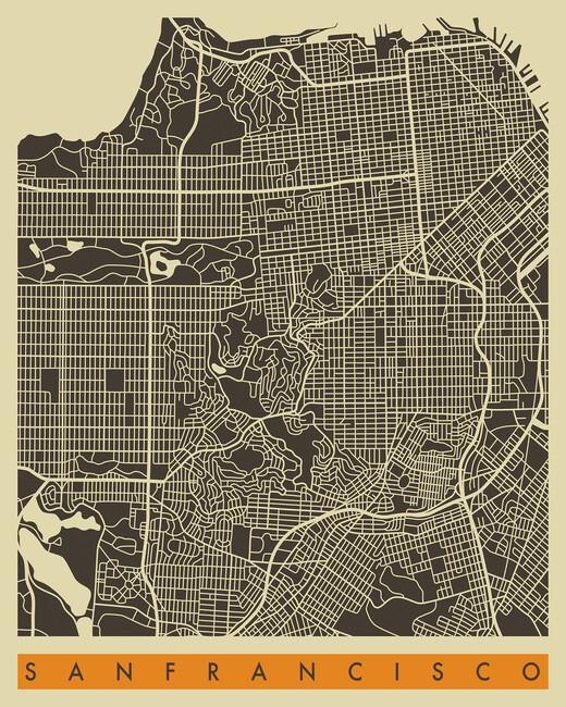 City Map San Francisco Wall