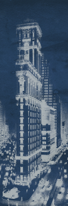 Fototapet - Times Square Postcard Blueprint Panel
