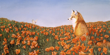 Mural de pared - Fox and Butterfly on Curious Petals