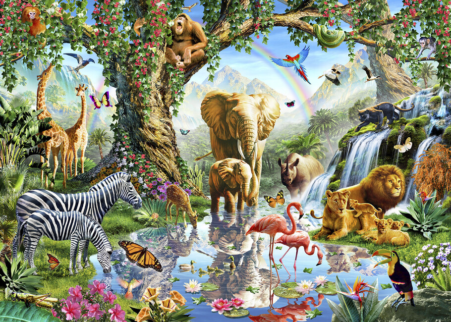 Jungle lake with wild animals wall mural photo for Classic jungle house for small animals