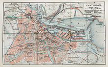 Fotobehang - 19th Century Old Map of Amsterdam City