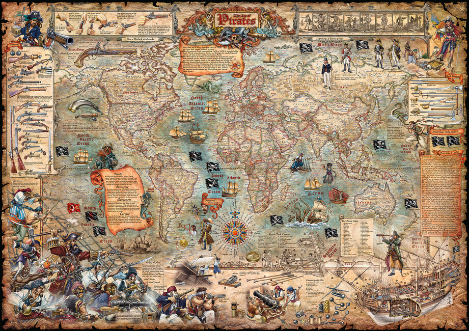 Pirate map wall mural photo wallpaper photowall for Antique world map wall mural