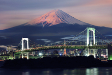 Fototapete - Rainbow Bridge with Mt Fuji