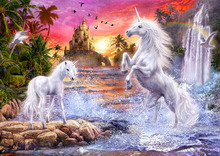 Wall mural - Unicorn Waterfall Sunset