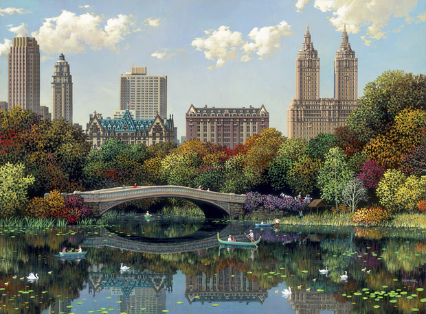 Central park bow bridge wall mural photo wallpaper for Central park mural