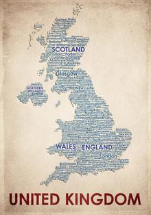 Canvas-taulu - United Kingdom Map - American Flat