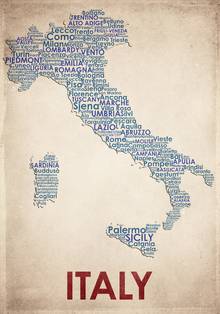 Canvas-taulu - Italy Map