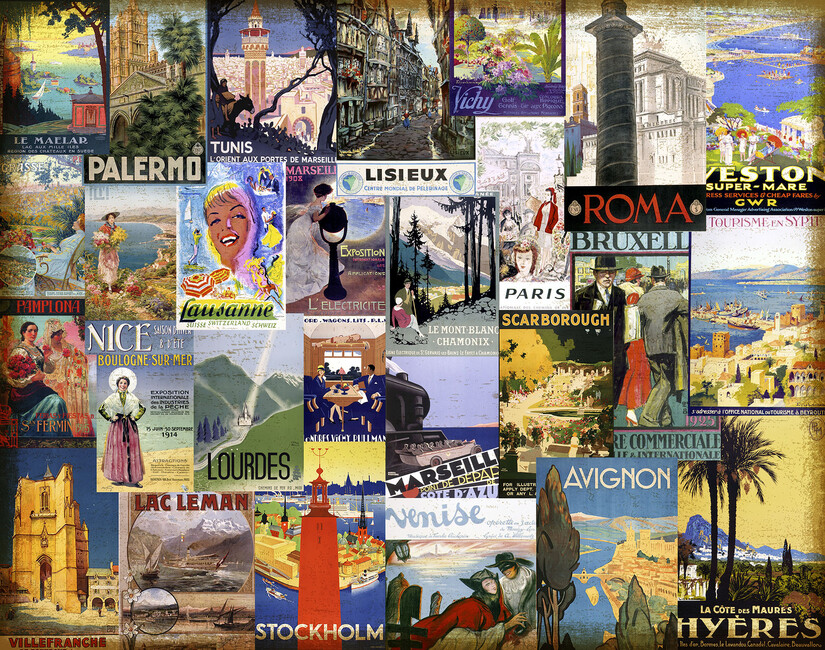 European cities collage wall mural photo wallpaper for Mural collage