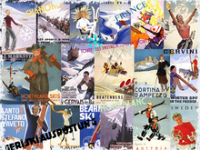 Fototapet - Ski Resorts Collage