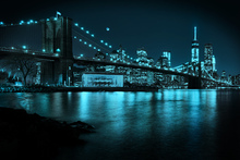 Fototapet - New Freedom Tower and Brooklyn Bridge at night