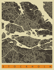 Canvastavla - City Map - Stockholm