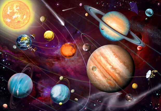 Comhanging Solar System For Kids Room : Comhanging Solar System For Kids Room : Solar System Wall Mural