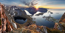 Fototapet - Mountain Landscape at Sunset in Norway