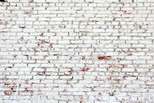 Canvastavla - Old Brick Wall with white and red bricks
