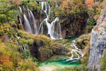 Wall mural - Waterfalls in Autumn Scenery