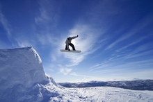 Fototapeta - Snowboard Big Air Jump