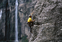 Fototapeta - Rock Climbing at Bridal Veil Falls