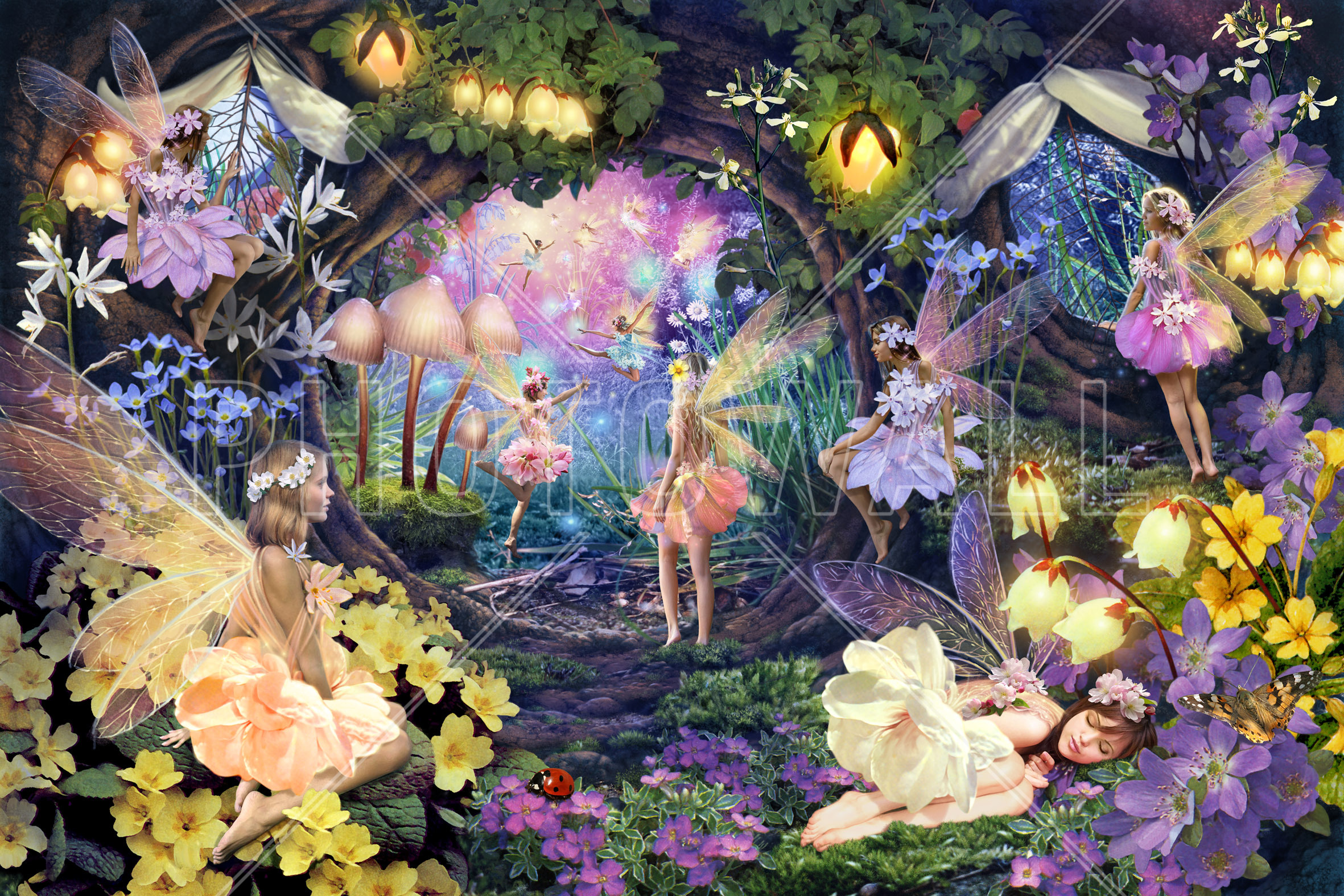 Image gallery magical fairy forest murals for Fairy garden wall mural