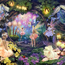 Children 39 s wallpaper wall murals photowall for Fairy garden mural