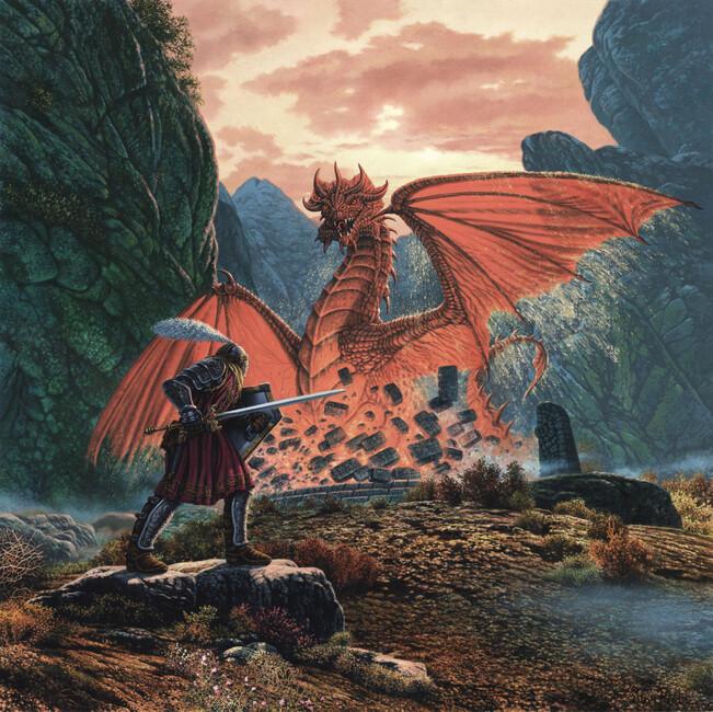 Red dragon awakens wall mural photo wallpaper photowall for Dragon mural wallpaper