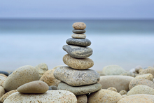 Canvas print - Stone Wall Beach Cairn